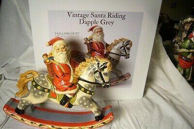 VAILLANCOURT FOLK ART SANTA RIDING ROCKING HORSE SIGNED
