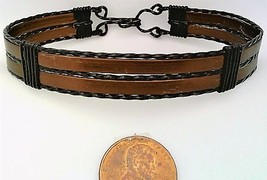 Brown Anodized Aluminum Black Copper Wire Wrap Bracelet 16 - $16.00