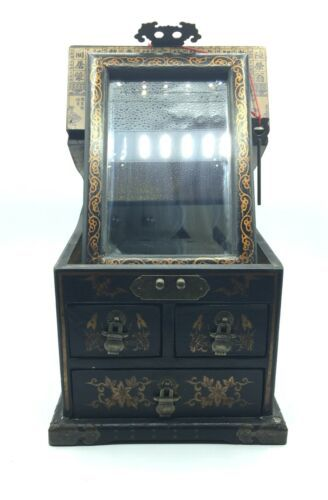 Vintage Wooden Chinese Asian Jewelry Box Chest w/ Mirror Apothecary