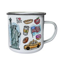 New Watercolor York Elements Retro,Tin, Enamel 10oz Mug h423e - $13.13
