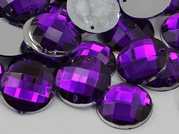 16mm Purple Amethyst CH05 Round Flat Back Sew On Gems For Craft 40 PCS