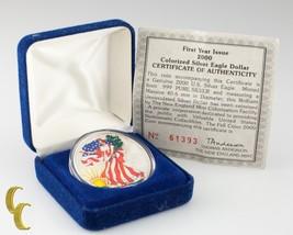 2000 Painted Walking Liberty Silver 1oz American Eagle w/ Box & CoA Uncirculated - $51.73