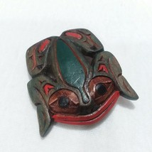 Frog Pin By Artie George Hand Carved and Painted Artist Signed Canada Na... - $98.95