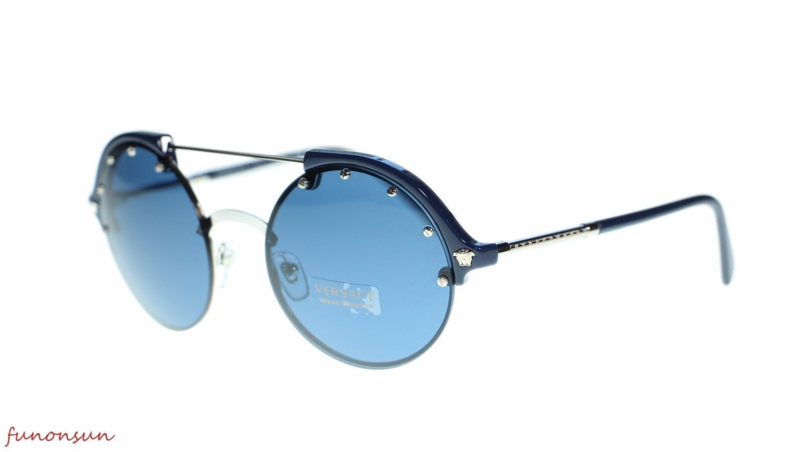 Versace  Women's Sunglasses VE4337 525180 Silver/Blue Blue Lens 53mm