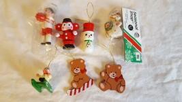 """7 MINIATURE CHRISTMAS TREE ORNAMENTS VINTAGE HAND PAINTED WOOD 1-2"""" NICE... - $8.90"""