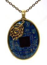 Blue Circuit Board Necklace, circuit board jewe... - $30.00