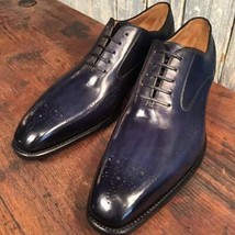 Handmade Men's Purple Color Brogues Style Dress/Formal Oxford Leather Shoes image 1