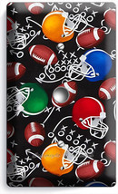 AMERICAN FOOTBALL BALLS HELMETS LIGHT DIMMER CABLE WALL PLATE BOY ROOM A... - $9.89