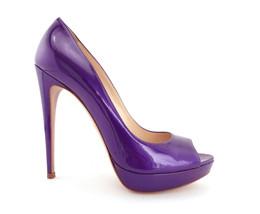 PRADA Size 9 Purple Metallic Patent Peep Toe Platform Heels Pumps Shoes 39 1/2 - $239.00