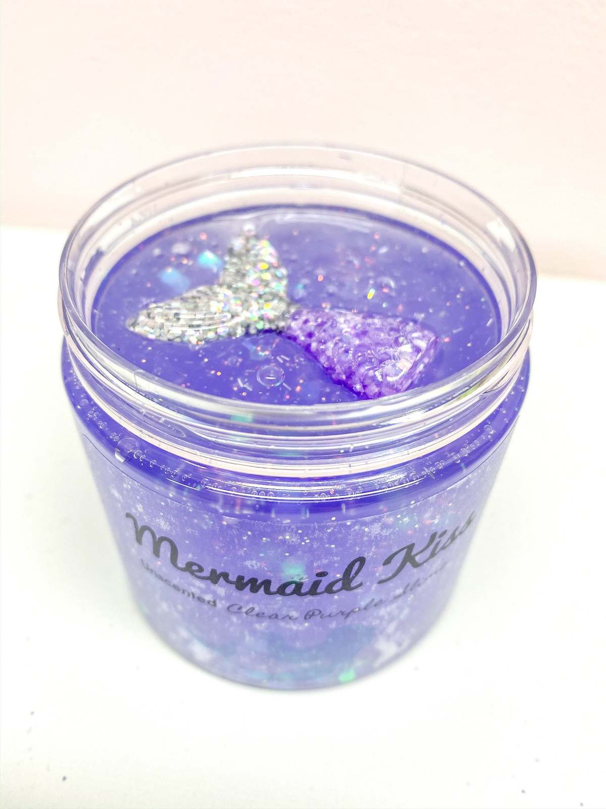 Mermaid Kiss Holographic Chunky Glitter Stretchy Clear Slime with MERMAID CHARM  image 2