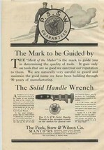 Solid Handle Wrench by Peck Stow & Wilcox 1909 Magazine Ad - $17.82