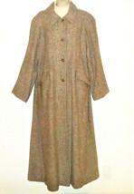 Vtg Talbots Tweed Dress Coat Wool 14 L Herringbone Brown Long Large Tall... - $69.99