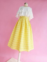 Lady Yellow Midi Party Skirt Spring Plus Size Full Pleated Skirt w. Wing Pattern image 4
