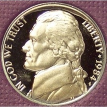 1984-S Deep Cameo Proof Jefferson Nickel #0854 - $3.99
