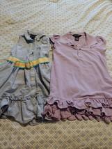 Ralph Lauren Girls Dress Size 4T purple polo and belted denim sleeveless... - $23.36