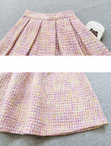 Black Tweed Midi Party Skirt Women A-line High Waist Pleated Tweed Skirt image 10