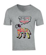 Saint bernard dog all you need c - NEW COTTON GREY V-NECK TSHIRT - $19.15