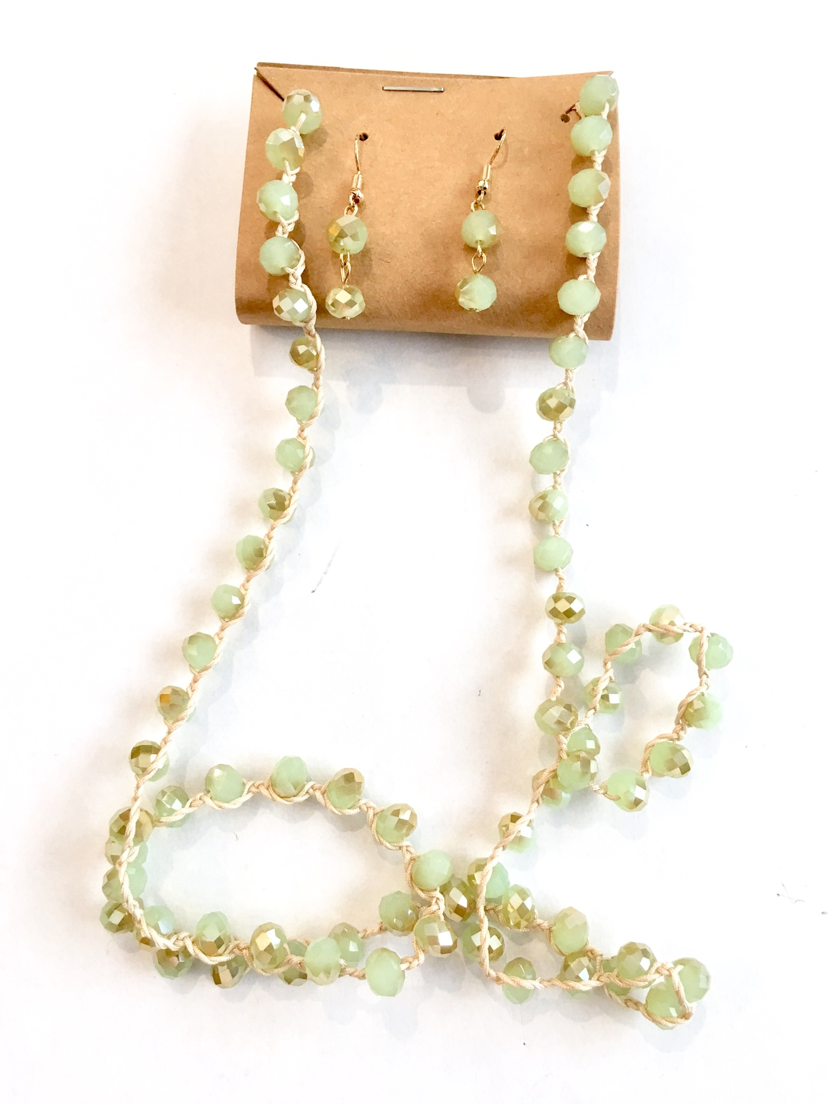 Mint Green Crystal Necklace, Long Beaded Necklace, Green Necklace Earrings Set