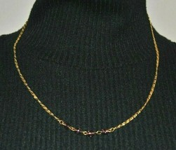 """Gold Tone Necklace 20"""" Simple Delicate Design With 4 Amethyst Style Beads - $9.99"""