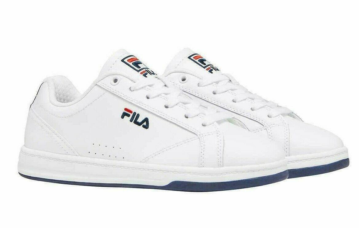 FILA Femmes Reunion Cuir Basse Escarpin Tennis Chaussures ( Blanc/Marine/Rouge )