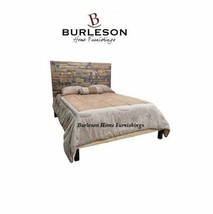 Rustic  Mazatlan Queen Bed Contemporary Lines Dark Walnut Stain Unique S... - $940.49