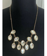 Doublesided Blue Teal Blue & Clear Faux Stone Bib Good Tone Chain Necklace - $9.89