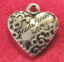 50Pcs. Wholesale Tibetan Silver ''Made with Love'' Heart Charms Pendants... - $40.07