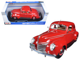 1939 Ford Deluxe Tudor Red 1/18 Diecast Model Car by Maisto - $53.18