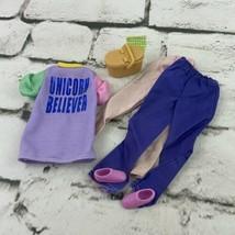 Barbie Doll Outfit Lot Pants Unicorn Believer Shirt Picnic Basket - $11.88
