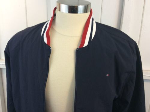 Tommy Hilfiger Blue Box Logo Zip Up Lined Jacket Size L Members Only Style image 4