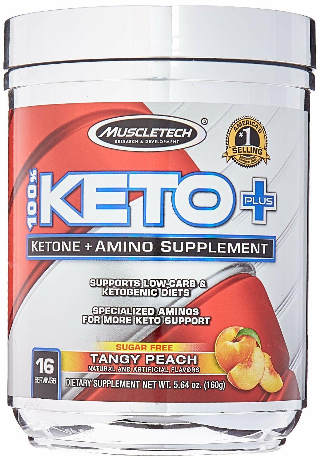 Muscletech 100% Keto Plus 16 Servings Tangy Peach 5.64 Ounce