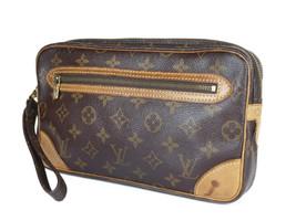 LOUIS VUITTON Marly Dragonne Monogram Canvas Leather Pochette Clutch Bag - $159.00