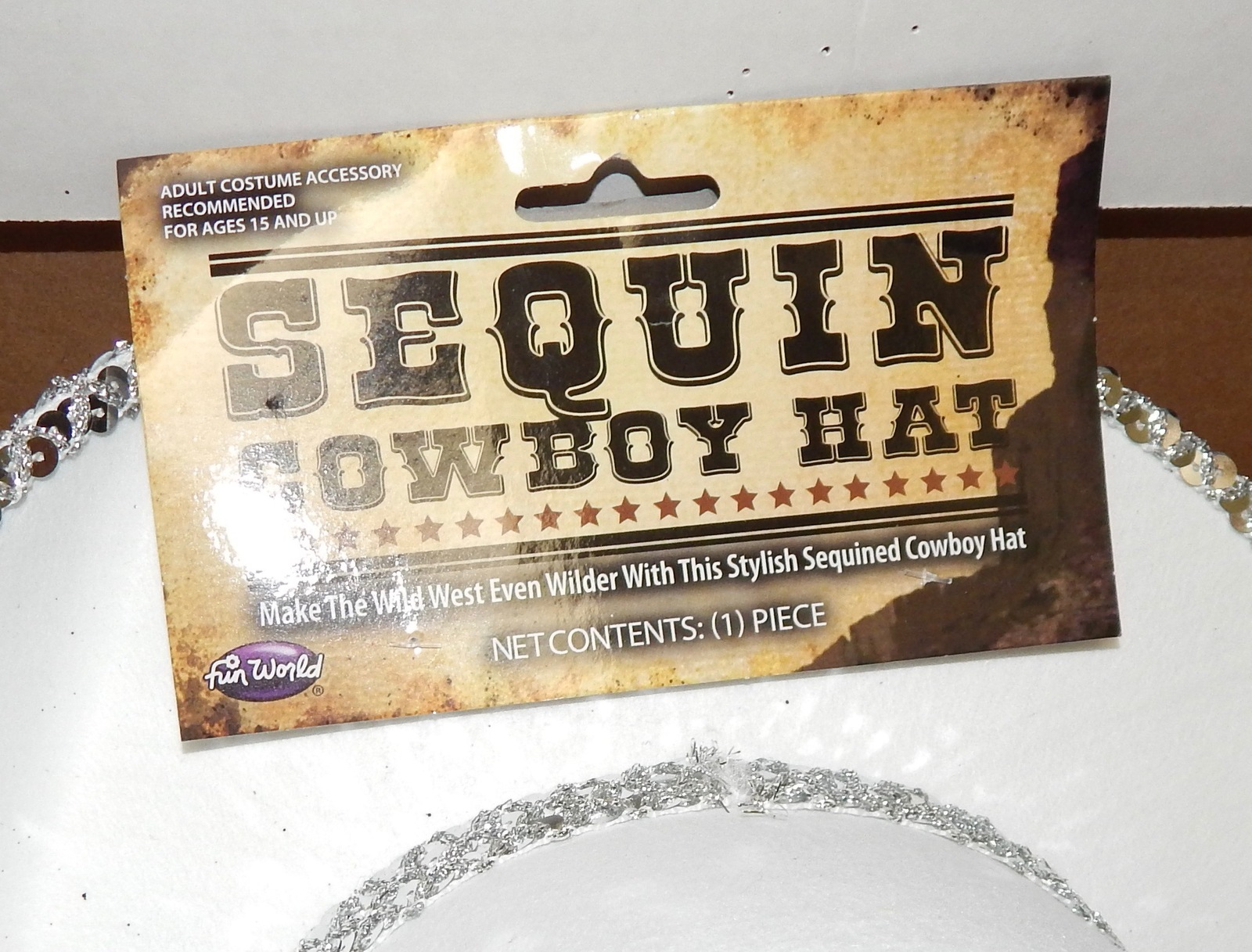 """Halloween Costume Adult Sequin Cowboy Hat 23"""" Or7 1/4"""" Size White Fun World 119B"""