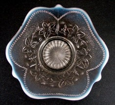 French Opalescent (White) Leaf Rosettes and Beads Low Bowl Dugan - $72.57