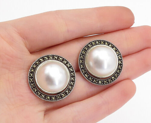 Primary image for JUDITH JACK 925 Silver - Vintage Pearl & Marcasite Dome Drop Earrings - E8846