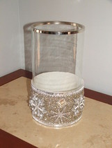 NWT  PIER 1 $ 79 SILVER SNOWFLAKE HOLIDAY HURRICANE CANDLE HOLDER - $59.39