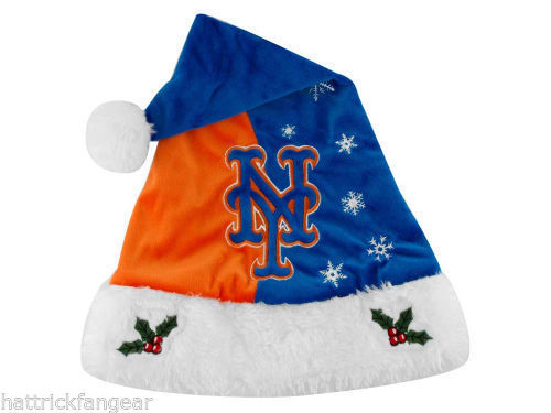 NEW YORK METS FOREVER COLLECTIBLES MLB KNIT FLEECE SANTA HAT