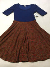 NWT Lularoe Nicole XL Blue Colorblock Rainbow Confetti Skirt Dress Extra... - $29.99