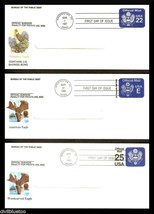 Lot of 3 FDC US Savings Bond Window Envelope Eagle Cachet 1987 1988 - $11.50