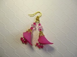 Handmade Fuchsia Pink Lily Flower & Crystal Gold Tone Earrings, Free Ship! - $7.60
