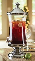 Shannon Crystal Horizon Chrome and Glass Mouth Beverage Dispenser Party ... - $86.28