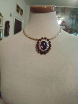 Vintage Golden Necklace W/ Faux Amber Rhinestone Pave Pendant Can Be A Pin - $55.00