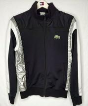 Lacoste Mens Sport Jacket Size 4 Color Block Full Zip Athletic White Black Gray - $59.38