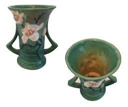 Roseville Magnolia Blue Green Handled Vase USA 88 - $52.00