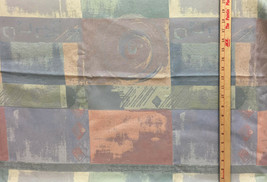 """Fabric Squares Abstract Swirl Embossed Peach Green Teal Purple Tones 74"""" x 66""""  - $18.80"""