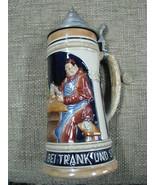 Vintage German Ceramic Beer Stein w/  pewter lid - $38.50