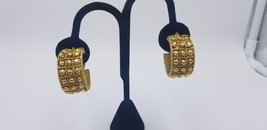 Vintage Judith Green Gold Tone HUGE Hoop Nugget Style Clip On Earrings - $19.32