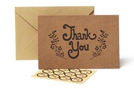 Thank You Cards – 100 Pack Kraft Paper Cards With Envelopes – Bulk Rusti... - $26.00