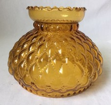 Quilted Amber Glass Lamp Shade Globe Fits Aladdin Oil Student 2 Availabl... - $39.55