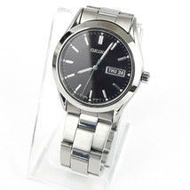 Seiko Mens Day Date Watch 7N43-9251 Stainless Steel Case Band Black Dial - $83.76 CAD